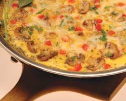 Šampinjoni s jajima i sirom